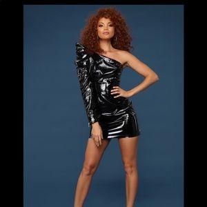 Black shiny fashion nova one shoulder mini dress